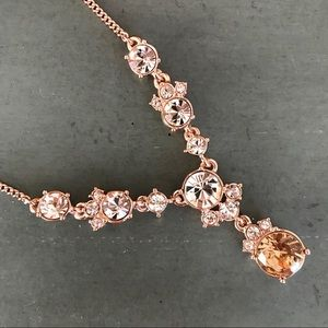Givenchy Rose Gold & Crystal Y-Necklace